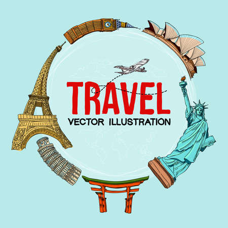 Travelling illustration. Trip to World. Travel to World. Vacation. Freehand drawing. Travel banner. Isolated on a blue background. Illustration