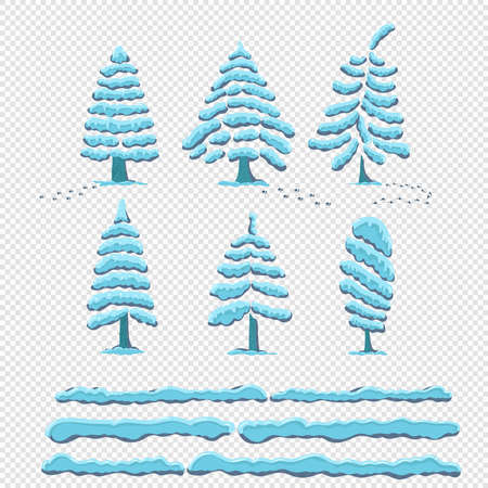 Set snow cap on trees. Snowy elements on a transparent background. Cartoon style freehand drawing.