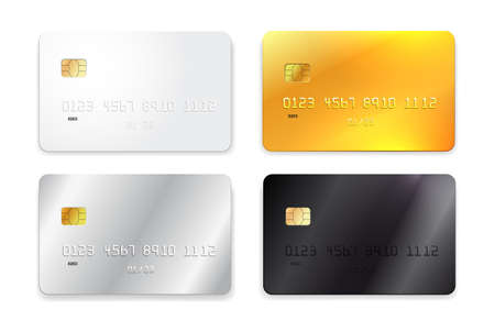 Set of credit card, white, gold, silver and black realistic mockup. Vector illustration. Isolated on white background.