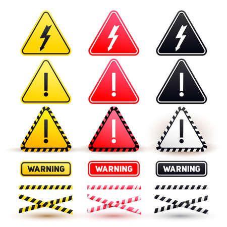 Set of warning signs of attention. Yellow, red and black signs. Vector illustration. Isolated on white background Illustration