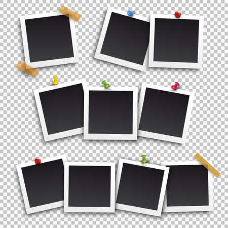 Set of square frame template with shadows and buttons. Vector illustration EPS 10. Isolated on transparent background