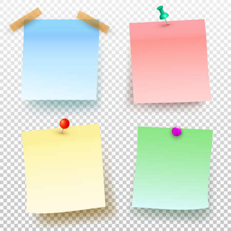 Set of colored sticky note and push pin isolated on transparent background. Vector illustration. Template for your projects.