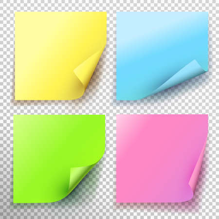 Set of yellow green blue pink sticky note isolated on transparent background. Vector illustration