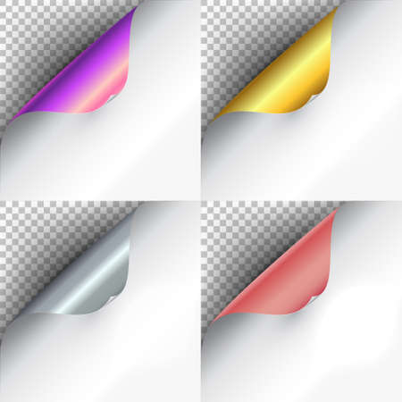 Set the curved glossy gold, silver, rose and purple gold corners of white paper with shadow. Mock-ups closeup on colorful backgrounds. Vector illustration EPS 10