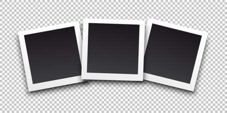 Square frame template with shadows. Vector illustration EPS 10. Isolated on transparent background