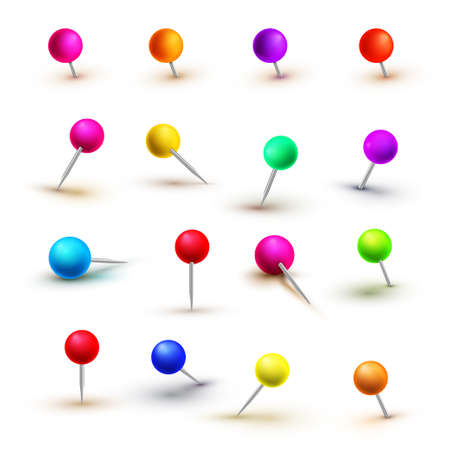 Push pins isolated on white background. Push pins for map. Set of colored pens with knob illustration.
