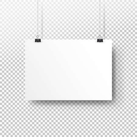 White poster hanging on binder. Transparent background with mock up empty paper blank. Layout mockup. Horizontal template sheet