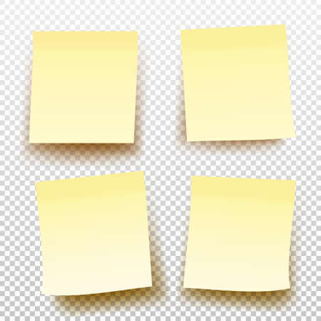 Set of yellow sticky note isolated on transparent background. Vector illustration. Template for your projects. Stock Illustratie