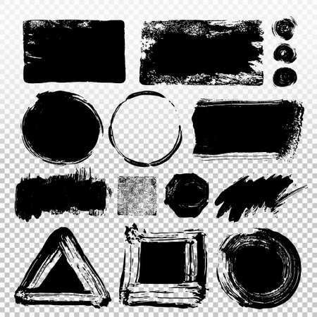 Ensemble de peinture noire, coups de pinceau d'encre, pinceaux, lignes. Éléments de conception artistique sales, boîtes, cadres. Illustration vectorielle Isolé sur fond transparent. Dessin à main levée