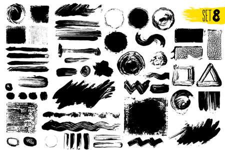 Ensemble de peinture noire, coups de pinceau d'encre, pinceaux, lignes. Éléments de conception artistique sales. Illustration vectorielle Isolé sur fond blanc Dessin à main levée.