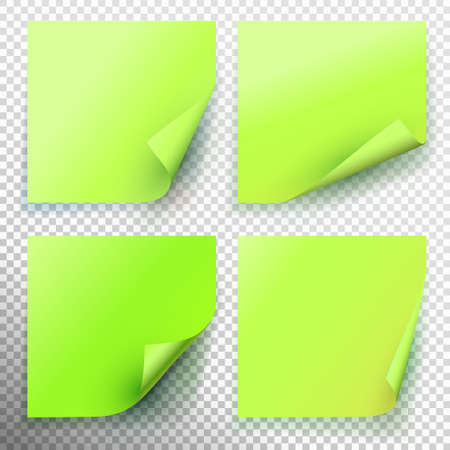 Set of green sticky note isolated on transparent background. Vector illustration