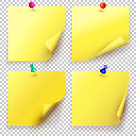 Collection of different yellow sheets of note papers with curled corner and push pin, ready for your message. Close up. Isolated on transparent background. Front view. Vector illustration.