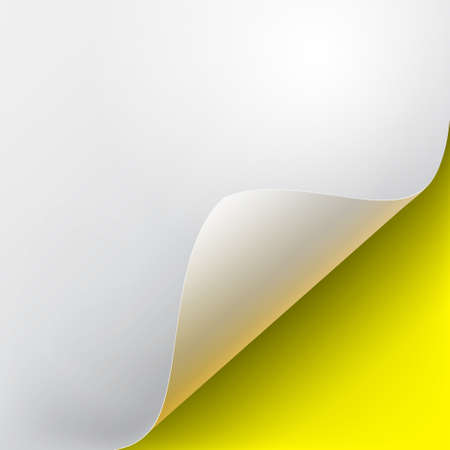 Curved corner of a white paper with shadow. Mockups close-up on a yellow background. Vector illustration EPS 10