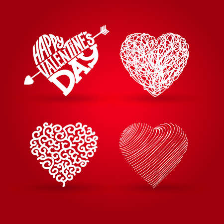 Happy valentines day. Vector illustration EPS 10. Isolated on red background