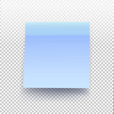 Blue sticky note isolated on transparent background. Vector illustration post note for your design.