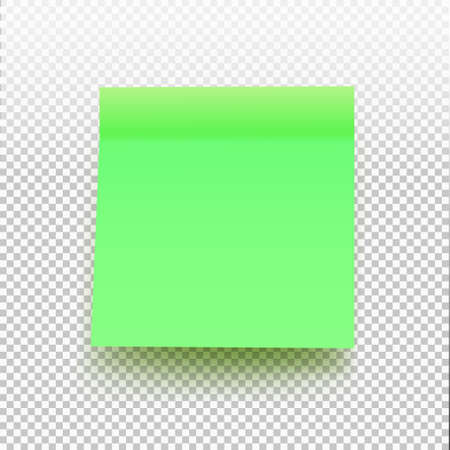 Green sticky note isolated on transparent background. Vector illustration post note for your design.