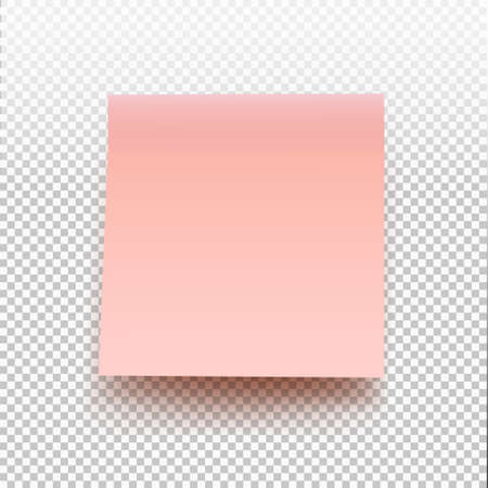 Pink sticky note isolated on transparent background. Vector illustration post note for your design.