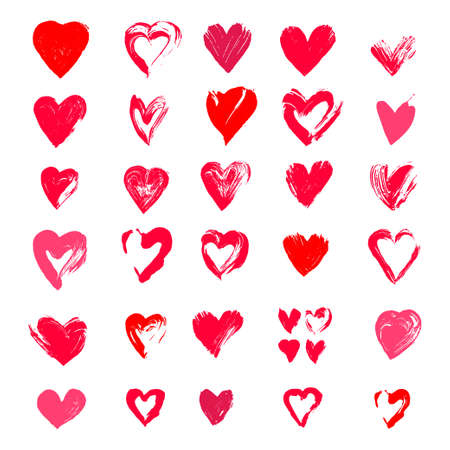 Painted hearts from grunge brush strokes. Collection of love symbols for Valentine card, banner. Distress texture design elements. Vector illustration. Isolated on white background. Freehand drawing.