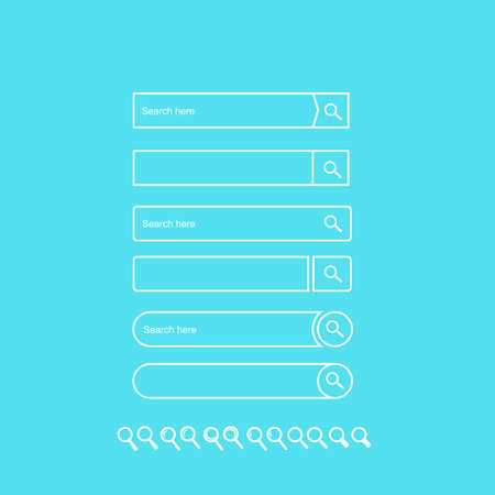 Search bar vector element design, set of search boxes ui template isolated on blue background. Style flat. Vector illustration EPS 10.