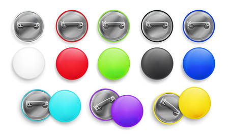Blank white and colorful badges. Pin button. 3d realistic mockup. Vector illustration EPS 10. Isolated on white background