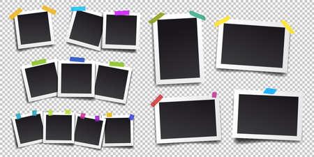 Conjunto de marco de fotos vintage con cinta adhesiva. Estilo vintage. Ilustración vectorial Aislado en el fondo transparente.