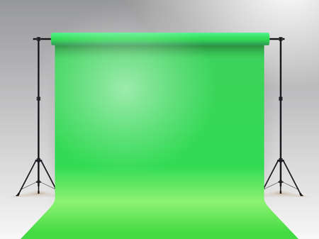 Empty photo studio. Realistic template mock up. Backdrop stand (tripods) with green paper backdrop. Gray background. Vector illustration.
