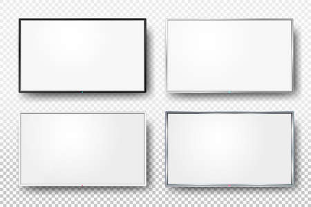 pva: Set of realistic TV screen. Modern lcd wall panel, led type, isolated on white background. Blank television template. Graphic design element. Large computer monitor display mockup. Vector illustration Illustration