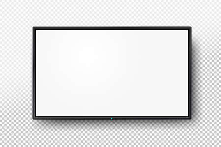 Realistic TV screen. Modern lcd wall panel, led type, isolated on white background. Blank television template. Graphic design element. Large computer monitor display mockup. Vector illustration