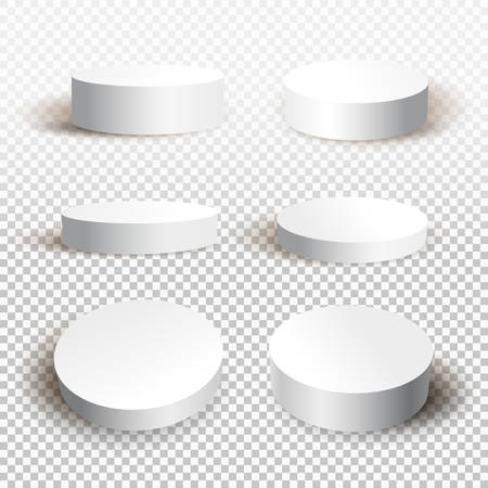 Rundes weißes Podium mit Schatten. Vektor-Illustration isoliert auf einem transparenten Hintergrund, Vorlage für Ihre Grafik-Design.