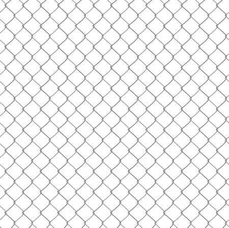 metal mesh: Seamless chain link fence background. Vector illustration. Isolated on white background Illustration