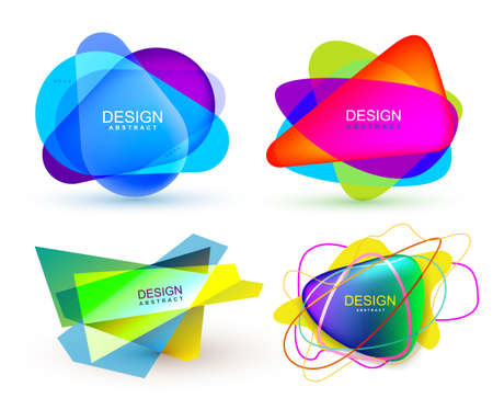 Set of colorful abstract banners shape. Graphic overlay banners design. Fun label or tag design. Vector illustration. Isolated on white background Reklamní fotografie - 81448276