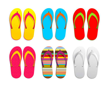Set of flip flops icon design. Vector illustration graphic. Isolated on white background Illustration