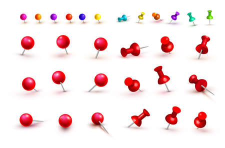 Collection of various red and colorful push pins. Thumbtacks. Top view. Front view. Close up. Vector illustration. Isolated on white background.