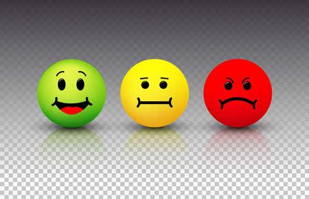 Ikona uśmiechu. Emotikony pozytywne, neutralne i negatywne. Ilustracji wektorowych. Pojedynczo na przezroczystym tle