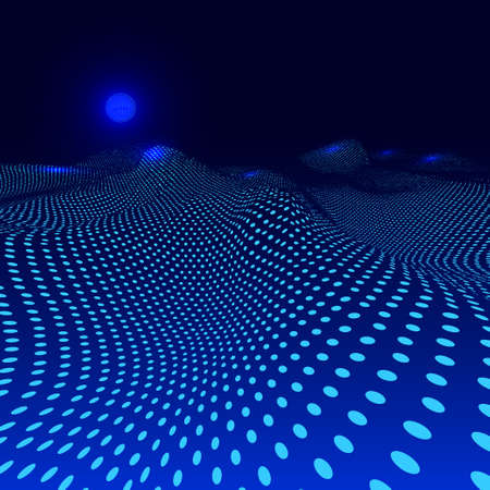chaos: Stylish wave mesh made with blue dots particles. Vector illustration. Isolated on dark blue background Illustration