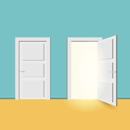 White doors closed and open. Isolated on turquoise background. Vector illustration in flat style design. Illustration