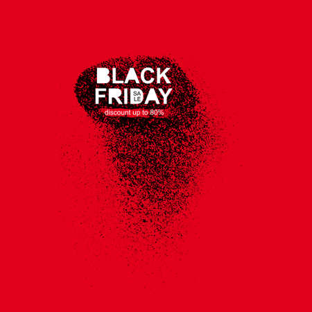christmas gifts: Black friday sale inscription on abstract ink blots. Sale and discount. Black friday template for your banner or poster. Vector illustration. Isolated on red background Illustration