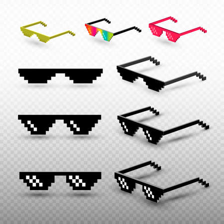 Set of pixel glasses isolated on transparent background. Thug life meme glasses. Mock up template ready for your design. Vector illustration. Stock Illustratie