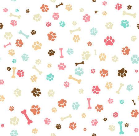 Dog paw print seamless. Template for your design, wrapping paper, card, poster, banner, flyer. Vector illustration. Isolated on white background 矢量图像