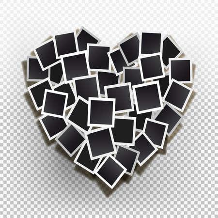 Stellen Sie quadratische Vektorfotorahmen in den Formherzen ein. Vektor-Illustration. Isoliert auf einem transparenten Hintergrund Standard-Bild - 88936211