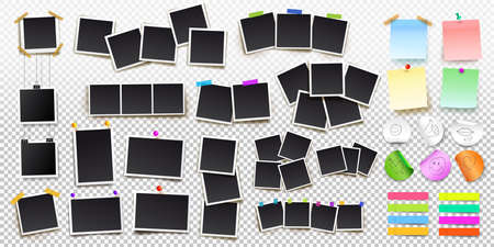 Set of square picture frames on sticky tape, pins and rivets, and office paper sheets or sticky stickers.