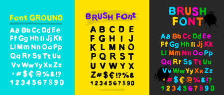 Set of grunge capital handwritten alphabet. Drawn by semi dry brush with unpainted areas. Vector illustration Isolated on light blue, yellow, grey background Stock Vector - 93080602