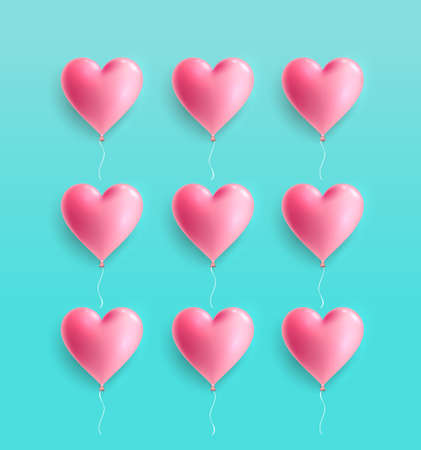 Love heart balloon concept on pastel colors. For greeting cards and invitations of the wedding, birthday, Valentines Day. Vector minimal concept illustration. Isolated on light blue backg