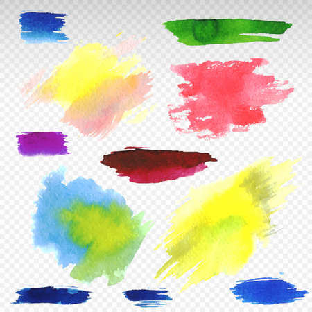 Set of abstract colorful watercolor vector illustration. Isolated on transparent background