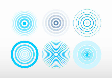 Set of radar screen concentric circle. Signal vector illustration. Blue color ring. Isolated on white background