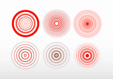 Set of bold and thin red ring. Pain circle. Symbol of pain. For your medical design. Vector illustration. Isolated on white background  イラスト・ベクター素材
