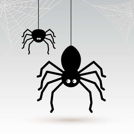 Cartoon spiders with cobwebs in the corners.