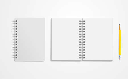Set of notebook mock up. Empty pages copybook with metal spiral template. Realistic closed and open notebook. Vector illustration. Isolated on white background