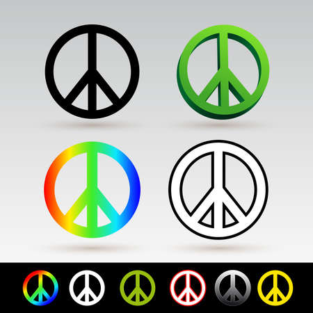 Set of peace symbol icon. Vector illustration. Isolated on white background