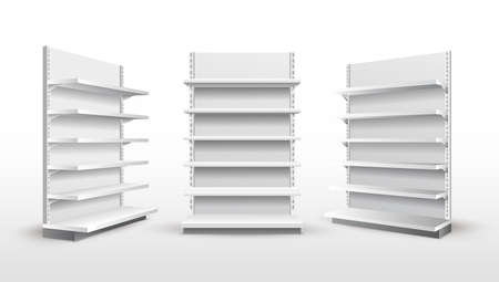 Set of white empty store shelves. Retail shelf rack. Showcase display. Mockup template ready for your design. Vector illustration. Isolated on white background